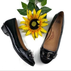 Sofft Smoking Flats Black Leather Silver Buckle